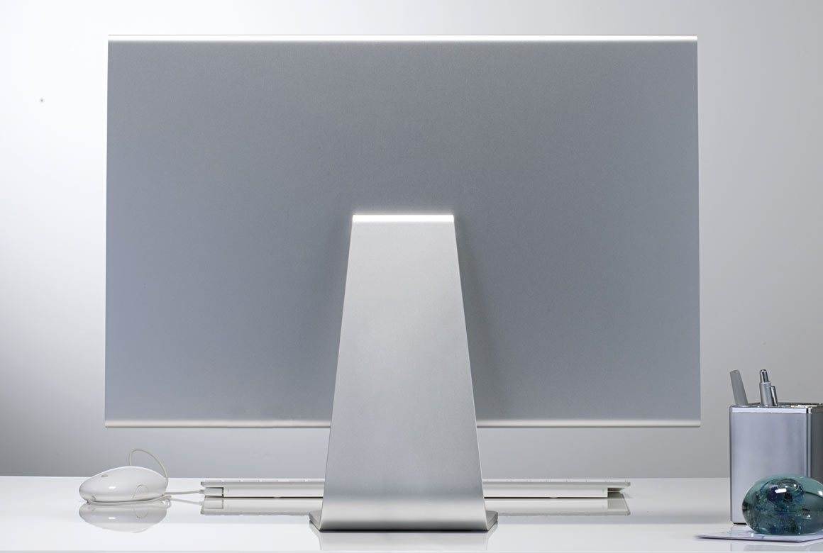 imac computer on a desk rear view