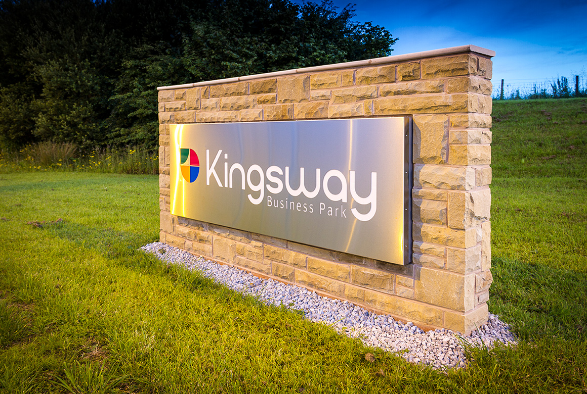 The Kingsway Business Park Sign completed and looking smart
