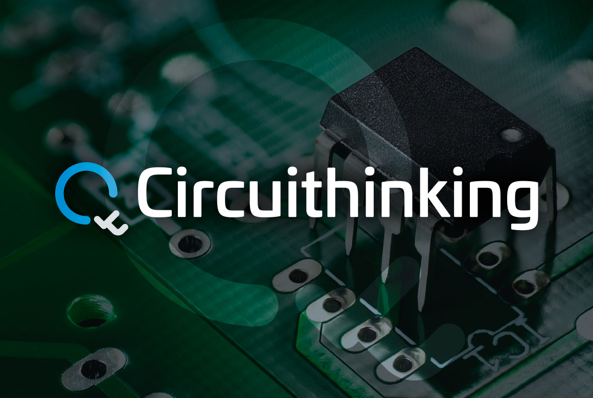 Circuithinking logo with an electronic circuit board background